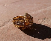 Antique Gold Colored Swarovski Faux Pearl Cluster Ring