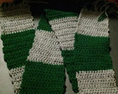 Harry Potter Inspired Slytherin Scarf Forest Green and Gray, Lightweight and Soft Halloween Gift Guide