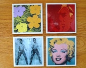Reserved  listing for steve andy Warhol  Art Tile Drink Coasters 6 Piece Set of  Flowers