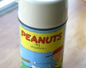 Vintage Sixties Peanuts / Charlie Brown Lunch Box  Thermos
