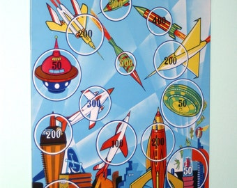 Vintage Tin Space Target Toy With Beautiful Litho Futuristic Space Graphics And Suction Cup Dart Gun