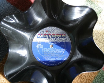 The Supremes Genuine 33rpm Upcycled LP Record Bowl featuring Motown Label