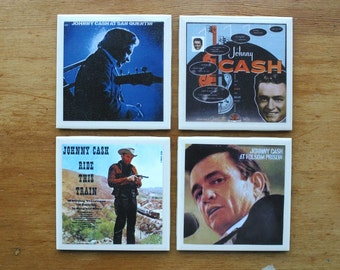 Johnny Cash Rock and Roll Record Cover Art Tile Drink Coasters 4 Piece Set