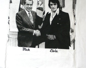 "Elvis Presley and President Richard Nixon Silk Screened  Hand Shake Tee Shirt....""Thank You Very Much"""