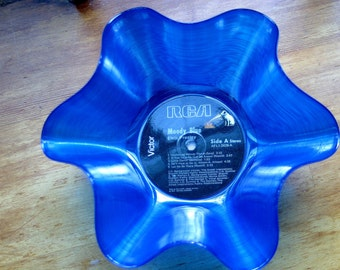 "Elvis Presley Genuine 33rpm Upcycled LP Record Bowl featuring  ""Moody Blue"" on RCA. Beautiful One of A Kind Blue Vynil"