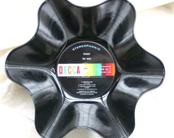 "The Who Genuine Vintage 33rpm Upcycled LP Record Bowl featuring ""Tommy"" on Decca Records with Rainbow Label"