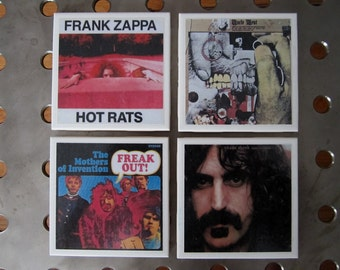 Frank Zappa Rock and Roll Album Cover Art Tile Drink Coasters 4 Piece Set