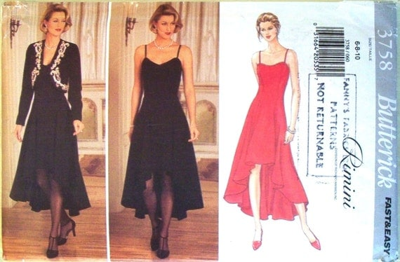butterick fast and easy pattern 3758 - rimini jacket and sleeveless flared cutaway hem dress - (1994) - UNCUT