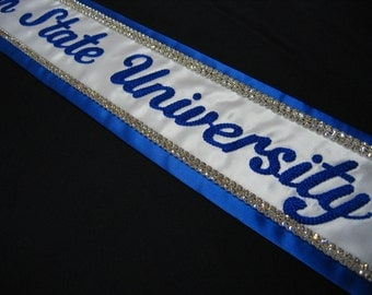 Embroidered Rhinestone Sash