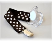 Pacifier Clip with hook and loop closure and lead free clip in POLKA DOTS