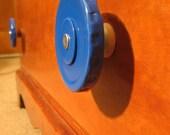 Upcycled Jar Lid Drawer Pulls - Set of 8 - Reused Metal Jar Lids & Wooden Spools