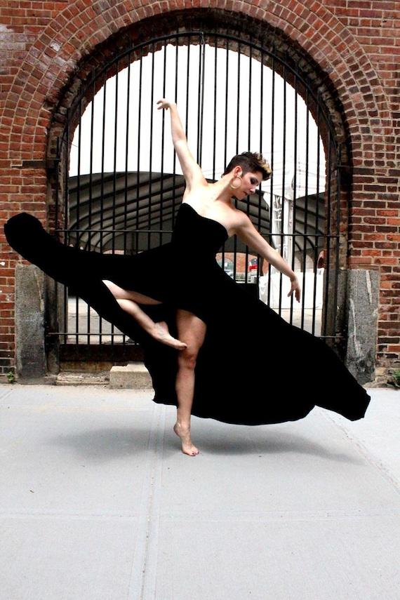 strapless maxi dress with cascading hem