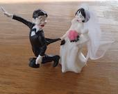 Vintage Bride and Groom Cake Topper Funny
