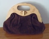 Vintage 1970's Dark Brown Suede Leather Wood Handle Handbag
