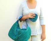 Teal Fordite Hobo Bag - Leather and Faux Chenille