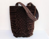 Smocked and Pleated Chocolate Bag, Dark Brown Tote
