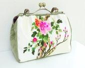 Peonies Garden - Vintage Silk Embroidery, Kiss-lock, Leather, Velvet