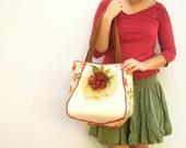 Doily and Roses- Big Shoulder Bag