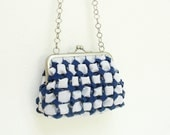 Cubes Clutch Purse - Smocked Gingham Dark Blue and White