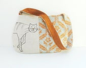 Story of a Cat and a Mouse- Purse with Linen and Leather