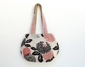 Day and Night - Reversible Bag - Floral Red, Black, Grey and Striped Brown Cream