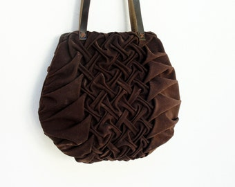 Smocked and Pleated Chocolate Bag