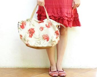 Canvas Leather Bag - Boho Poppy - upcycled eco friendly