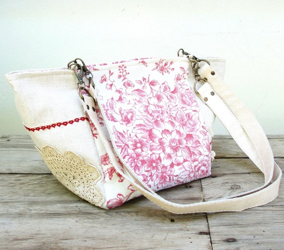 Beauty in Many Ways - Vintage Doily, Crochetted Lace, Vintage fabric, Linen and Leather Bag