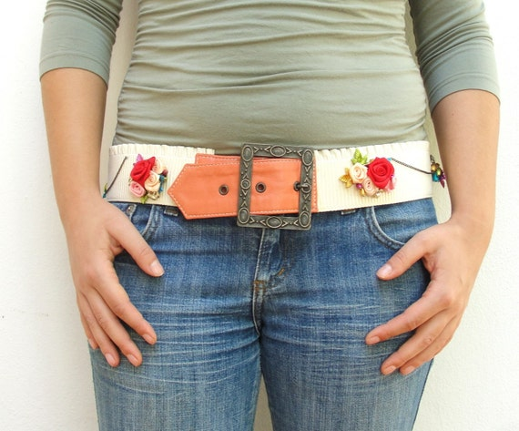 RESERVED FOR MACY Dancing with Flowers Belt - Leather and Ribbon Flowers