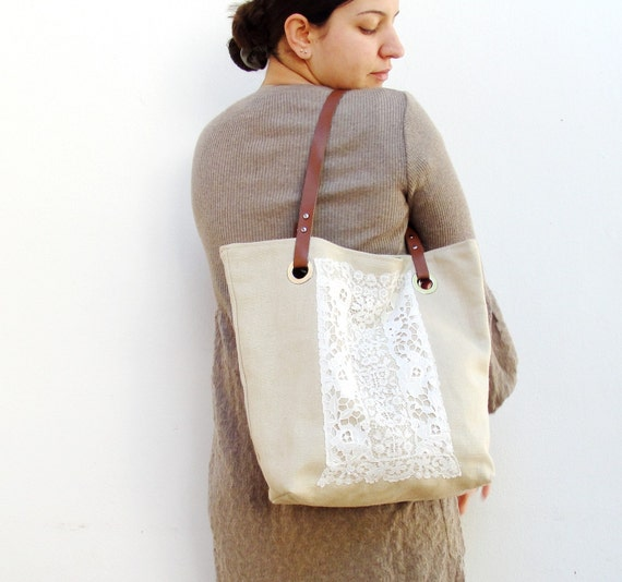 Live, Laugh, Love - Linen, Leather and Antique Lace Tote Bag