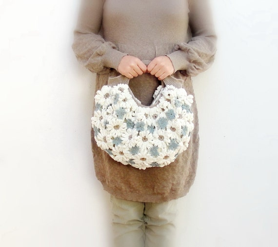 Crazy Daisy - Crochetted Chenille Puffy Happy Sunny Bag