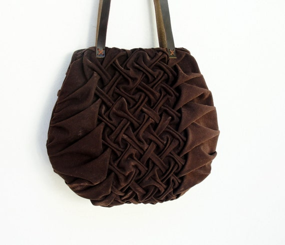 Smocked and Pleated Chocolate Bag