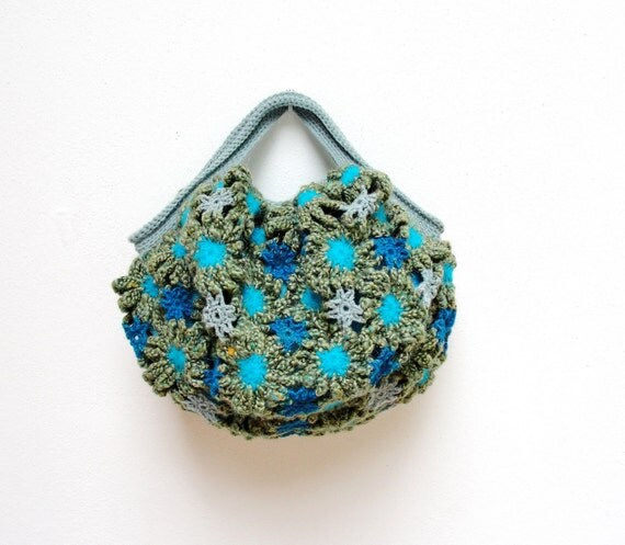 Crazy Daisy - Crochetted Mohair Puffy Happy Sunny Bag