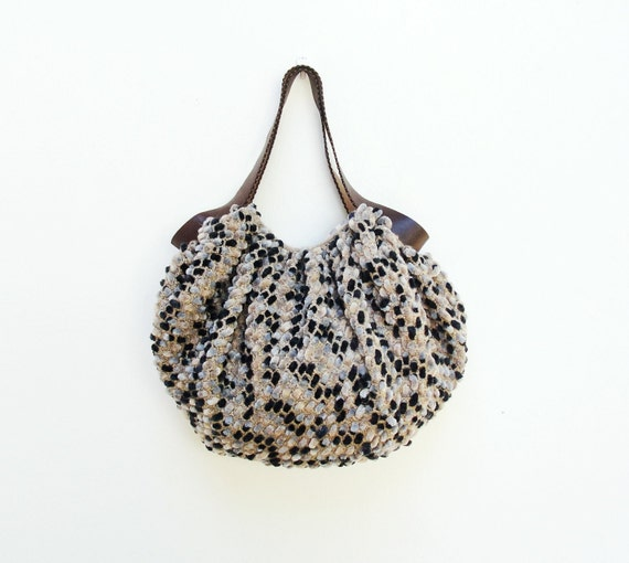 Texture and Stripes Bag - Crochetted Chenille Puffy Happy Boho Bag