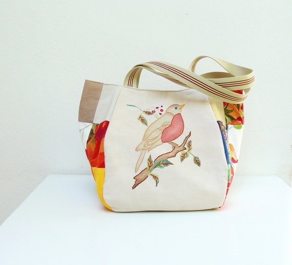 RESERVED Woodland Bird Bag - Vintage Embroidery and Patchwork