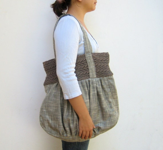 Huge Pleated Beautiful Detailed Cotton Bag