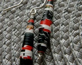 Earrings Paper bead, recycle black white red, sterling silver