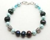 Peacock - Bracelet, freshwater pearl, peacock blue, baby blue, swarovski crystal, classic bracelet, work bracelet, everyday jewelry, nordic