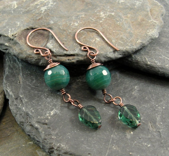 Empress earrings with green banded agate, Czech glass leaves and copper