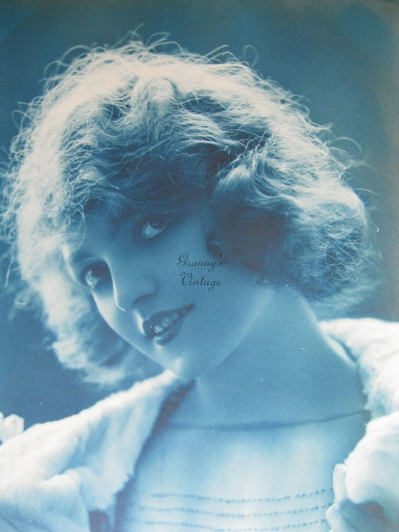 Antique Blue Tinted French Photo Postcard P.C.Paris.Love.Romance. From the album Marthe and Camille