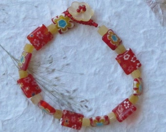 Red and Yellow Millefiori and Yellow Dyed Jade Cube Bracelet, Feminine Bracelet, Loop and Button Clasp