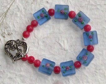 Blue Frosted Glass Squares Bracelet Free Shipping