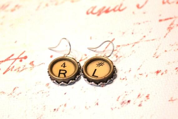 Vintage Typewriter Key Dangle Earrings