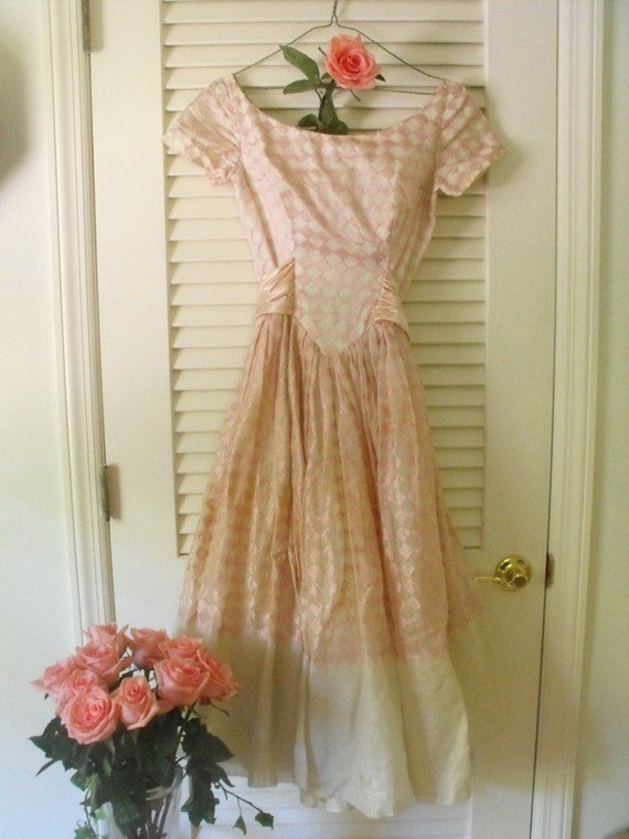 Pretty in Pink, Diamond Pink Vintage Prom Dress  Dreamy Tattered Tea stain Cream,