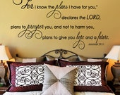 Scripture Wall Decal  For I know the Plans I have for You    JEREMIAH 29 11  Large  Vinyl Quote