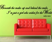 MARILYN MONROE Wall Decal Just a Girl Who Wishes for the World  - Wall Decals - LARGE