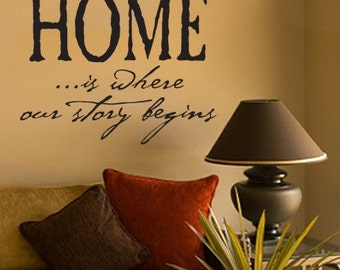 Vinyl Wall Decal Home is where our Story Begins   LARGE