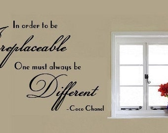 Wall Decal Coco Chanel VINYL WALL QUOTE In Order to be Irreplaceable One Must Always be Different   Large