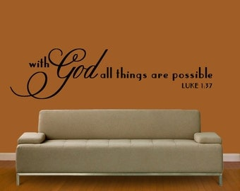 WALL DECAL With God All things Are Possible  LARGE