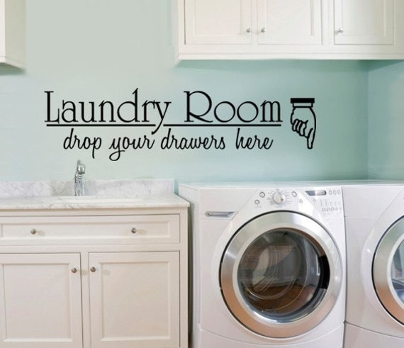 Vinyl wall decal large laundry room drop your drawersart room for Laundry room wall art